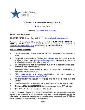 Fillable Online REQUEST FOR PROPOSAL RFP 11-8-12-01 E-RATE