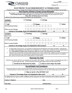 ELECTRONIC WAGE DISBURSEMENT AUTHORIZATION Fill Online