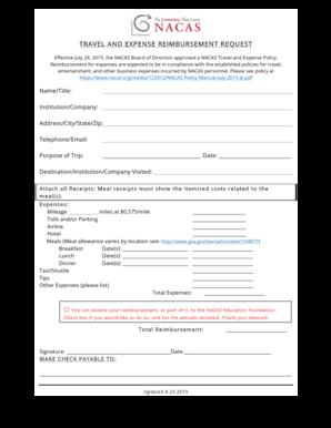 Fillable Online Nacas TRAVEL EXPENSE REQUEST FORM 8 25 15