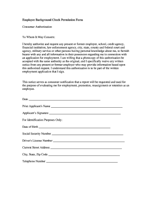 employee background check form authorization - Edit, Fill