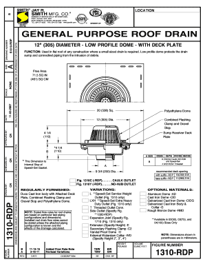 1310-RDP General Purpose Roof Drain w12 Dia Low Profile Dome and