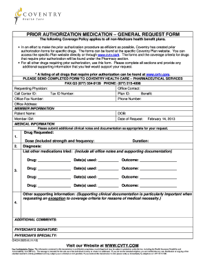 coventry health care pa forms Submit coventry prior authorization form PDF Forms and Document ...
