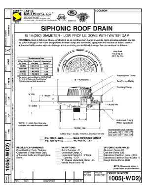 Fillable Online 1005-WD2 Siphonic Roof Drain 15 14 DIA Low Profile