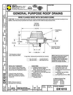 Fillable Online DX1010 General Purpose Roof Drains Wide Flange Body