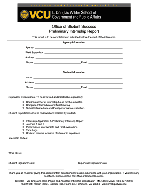 Office of Student Success Preliminary Internship Report