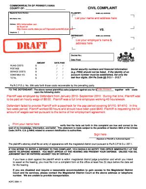 Sample Civil Complaint Form   Editable Sample Civil Complaint Form Fill Out Print Download In