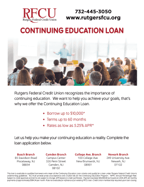 Rutgers Federal Credit Union >> Fillable Online Rutgersfcu Continuing Education Loan