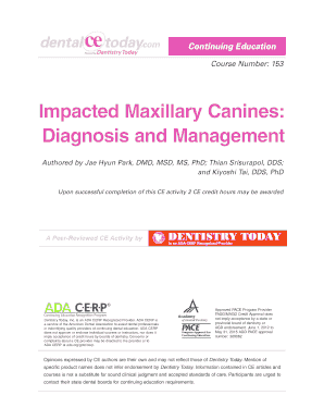 Impacted Maxillary Canines Diagnosis and Management