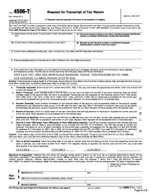 Irs gov form 4506-t verification of non-filing letter - Editable