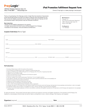 Prepoi iPad Promotion Fulillment Request Form - LearnSmart