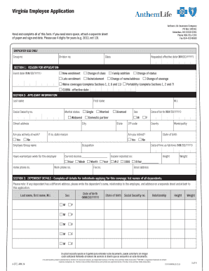 Fillable Online Virginia Employee Application - Anthem Fax ...