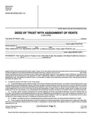 deed of trust with assignment of rents To protect the security of this deed of trust, trustor agrees: by the execution and delivery of this deed of trust and the note secured hereby, that the provisions (1.