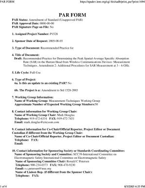 Fillable Online standards ieee print:1694 PAR FORM PAR Status ...