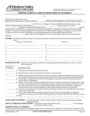 Fillable Online hvfcu Limited liability company authorization ...