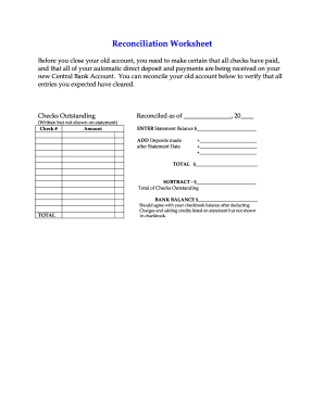 reconciliation worksheet form