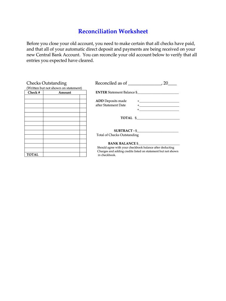 form 1040 reconciliation worksheet  Reconciliation Worksheet - Fill Online, Printable, Fillable ...