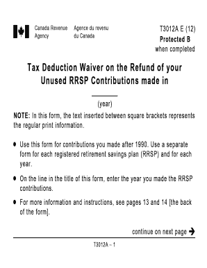 revenue canada tax deduction waiver on the refund of your unused rrsp contributions made before 1990 form
