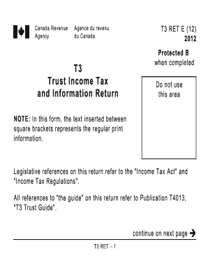 2012 Form Canada T3 RET E Fill Online, Printable, Fillable ...