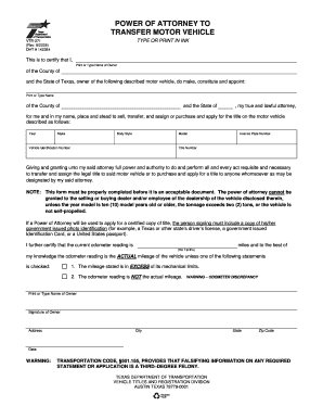 Bill Of Sale Form Texas Power Of Attorney To Transfer A Motor
