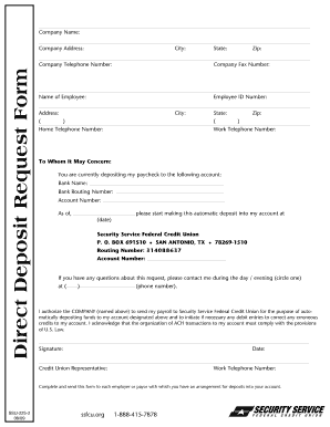 free printable direct deposit form