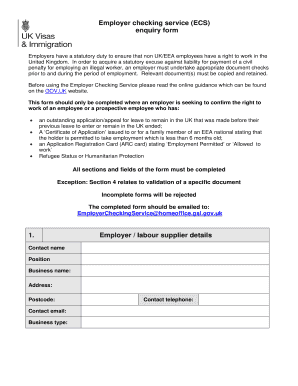 employment checking service form