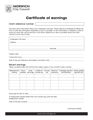 certificate of income template form