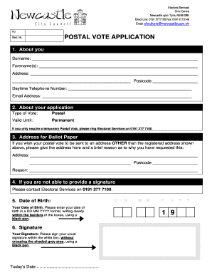 Fillable Online Postal Vote Application Fax Email Print