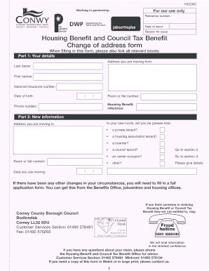 Housing Benefit and Council Tax Benefit Change of address form