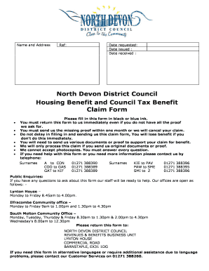 Housing Benefit and Council Tax Benefit Claim Form - North Devon ...