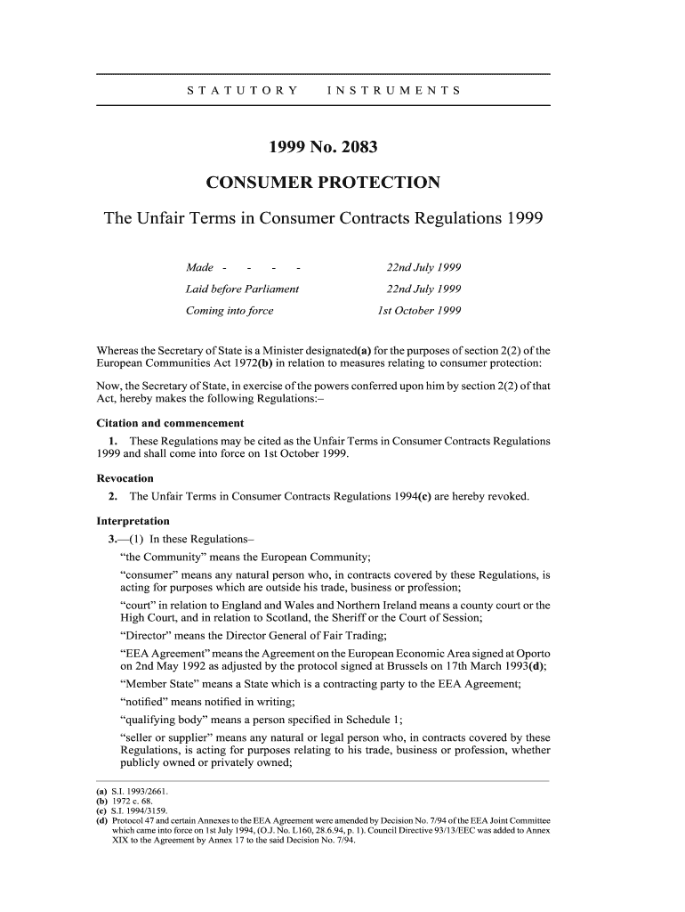 Consumer Contracts Regulations >> The Unfair Terms In Consumer Contracts Regulations 1999 Fill Online