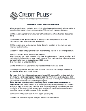 Fillable Online Credit Report Errors and the Dispute Process