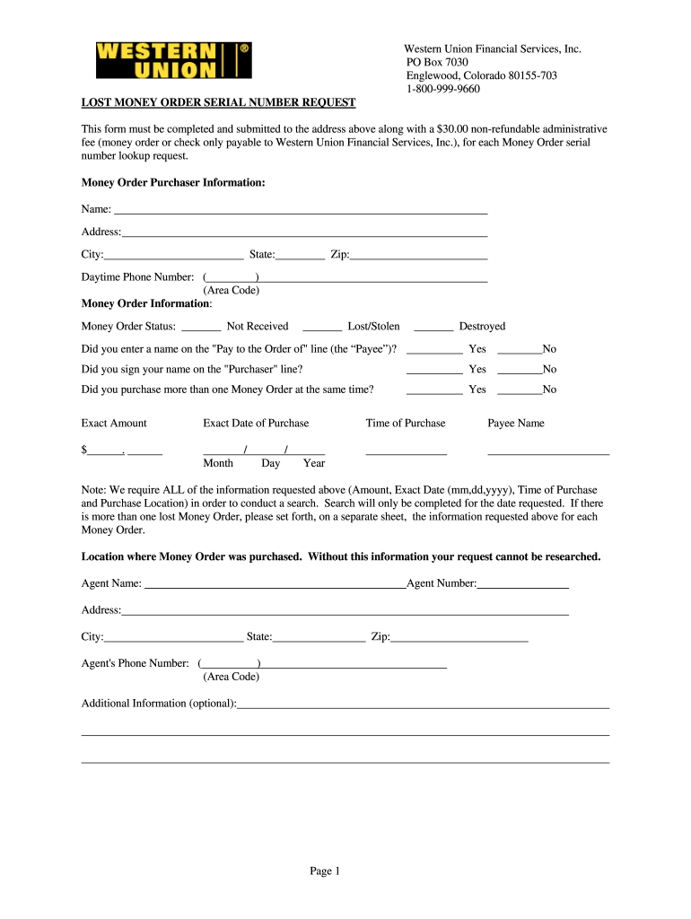 Western Union Form Fill Online Printable Fillable Blank