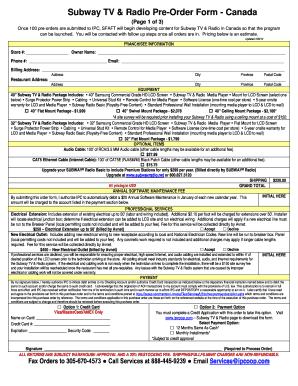 Subway Canada Order Form