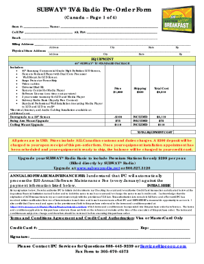 Subway Pre Order Form - Fill Online, Printable, Fillable, Blank ...