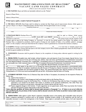 vacant land sales contract form