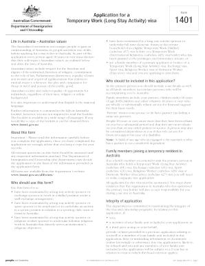 Application For An Work Visa In Australia Form 1401 Fill Online Printable Fillable Blank Pdffiller