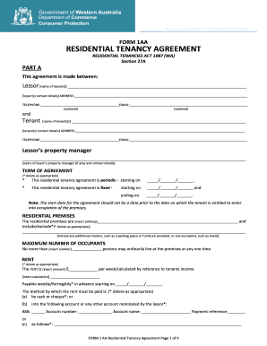 Residential tenancy agreement form 24a fill online printable residential lease agreement form fill online form 1aa platinumwayz