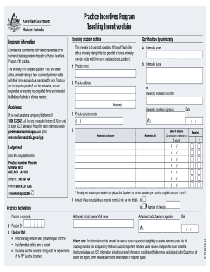 Fillable Online medicareaustralia gov PIP Teaching Incentive claim ...