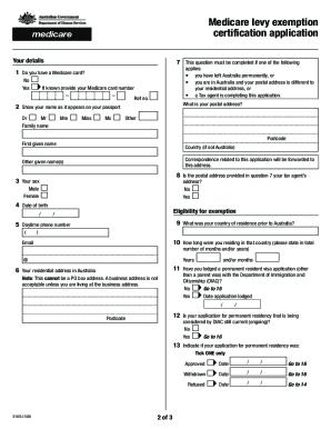 Fillable Online humanservices gov Medicare levy exemption ...