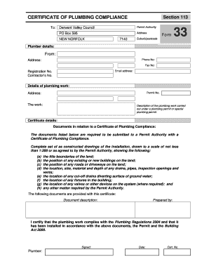 Form 33 - Certificate of Plumbing Compliance - Derwent Valley ...