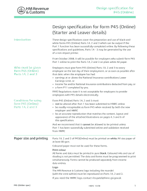 design specification for form p45 online starter and leaver details