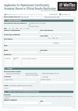 Application for Replacement Certificate(s) - Wellington Institute of ...
