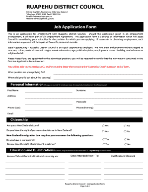 generic job application template word