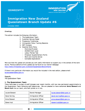 Fillable Online immigration govt Queenstown Branch Update #6 ...