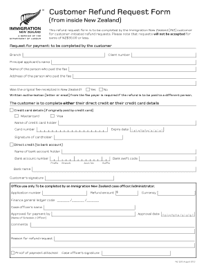 Fillable Online immigration govt Customer Refund Request Form Fax ...