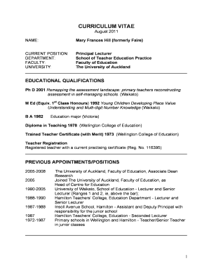 Mary's academic CV - Faculty of Education - The University of ...