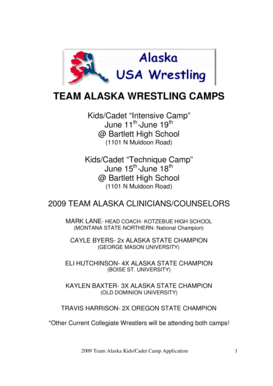 TEAM ALASKA WRESTLING CAMPS