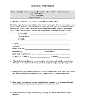 Yuma Victums Impact Ststenent Form - Fill Online, Printable ...
