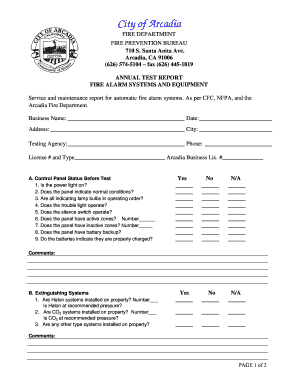 Fillable Online Fire Alarm Test Form 0407 City Of