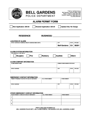 fillable online form alarm city of bell gardens fax email print pdffiller. Black Bedroom Furniture Sets. Home Design Ideas
